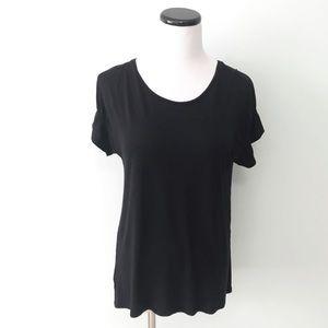 LOFT Black Flutter Sleeve Shirt